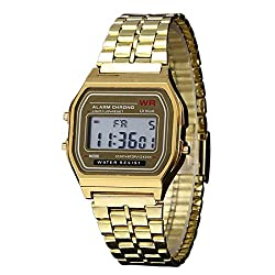 New Vintage Womens Men Watch Stainless Steel Digital Alarm Stopwatch Classic Gold WristWatch Men