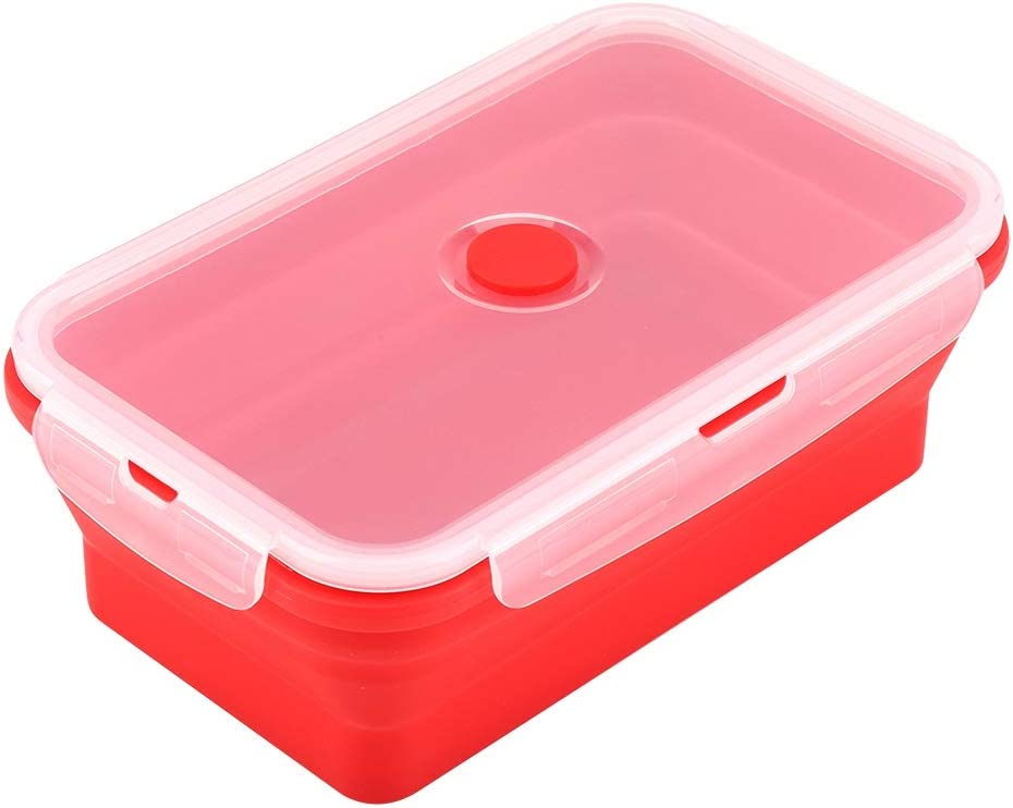 1200ml Foldable Silicone Bento Box, Collapsible Lunch Box, Rectangle Microwave Food Container, Portable Folding Lunchbox (Red)