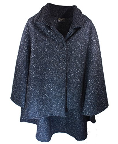 - Kerry Woollen Mills Wool Cape Cropped Charcoal Made In Ireland