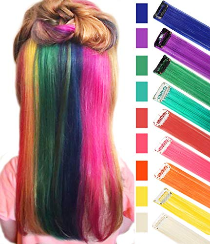 CLDY 9PCS Girls Hair Accessories Party Highlights Colorful Clip in Synthetic Hair Extensions,Straight Long Hairpiece (Rainbow Color)