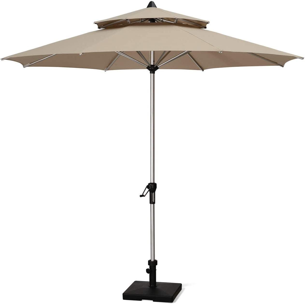 PURPLE LEAF 9 Feet Double Top Deluxe Sunbrella Patio Umbrella Outdoor Market Umbrella Garden Umbrella, Beige