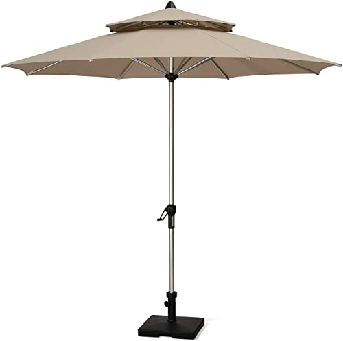 PURPLE LEAF 9 Feet Double Top Deluxe Patio Umbrella Outdoor Market Umbrella Garden Umbrella, Beige