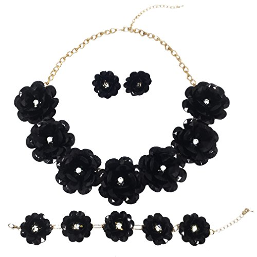 laanc 7 Flower Bridal Wedding Jewelry Set Resin Beads Stone Pearl Floral Vine Design Necklace (Black)