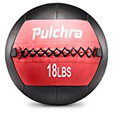 PULCHRA Soft Medicine Ball Leather Medical Slam Weight Wall Ball Fitness Training Workout Exercise for Better Power Balance Arm Leg Waist Muscles Build 2 4 6 8 10 12 14 16 18LB (18LB)