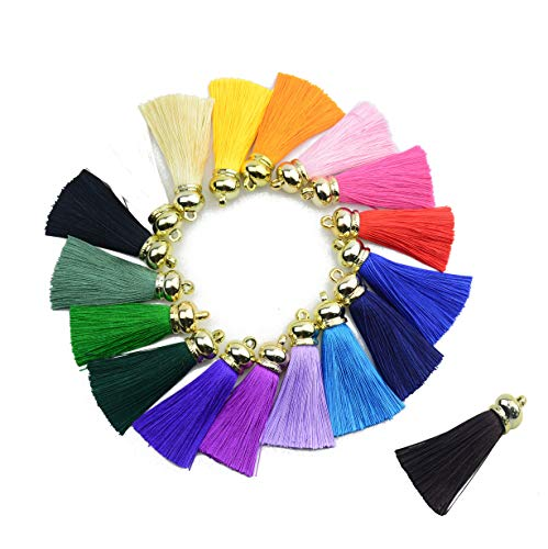 Mixed 18 Colorful 6cm/2.4 inch Handmade Chunky Imitation Silk Craft Jewelry Tassels with Gold Cap Jewelry Pendant Crafts (Mixed ()