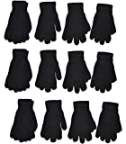 OPT Brand. Chenille Knit Gloves Magic Soft Winter Gloves Unisex 12 Pairs Wholesale (Black)