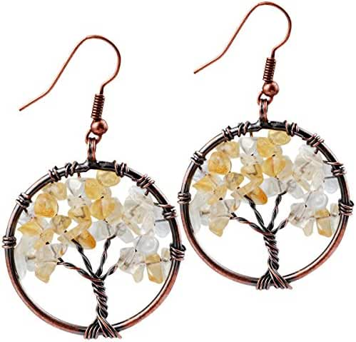 SUNYIK Tumbled Gemstone Tree of Life Dangle Earrings,Vintage Retro Jewelry for Women Girls