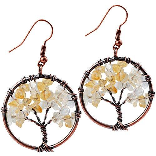 - SUNYIK Citrine Tree of Life Dangle Earrings for Women(Copper Color)