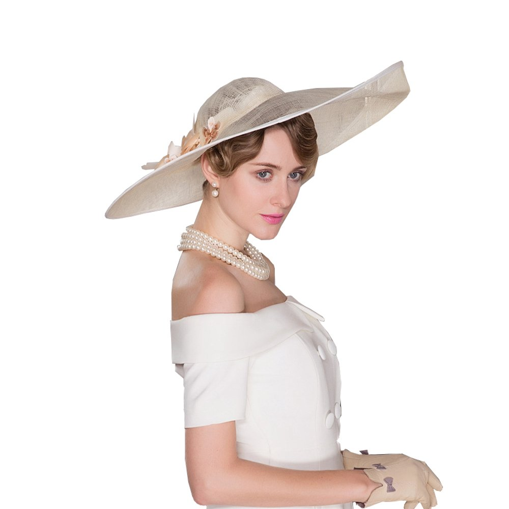 HomArt Women's Wide Brim Wedding Church British Party Hat Triple Crown of Thoroughbred Racing Hat with Flower pattern, Beige by HomArt (Image #4)