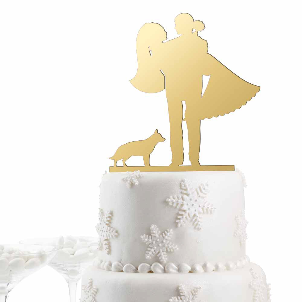 Amazon.com: Bride - Groom with dog Pick your silhouette breed ...