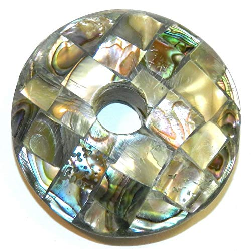 Paua Abalone Mother of Pearl Shell 37mm Round Donut Mosaic Tile Pendant #ID-3163