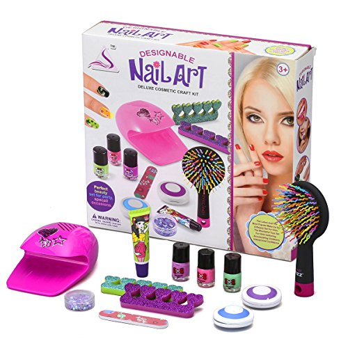 Kids Mirror Coordination (Shinehalo Nail Art Deluxe Cosmetic Craft Set 12PCS Real & Non-Toxic Nail Polish Nail Dryer Hair Dye Palettes Lip Gloss Comb with Mirror Party Preparation for Girls)