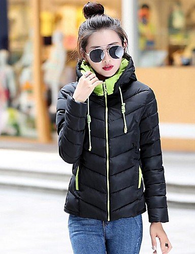 LIGHTBLUE Solid YRF Coat Street Green Hooded Long L White Black Blue Pink Sleeve chic Red Padded Women's 5ZqZU