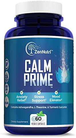 Calm Support, Anti Anxiety, Stress Relief, Mood Enhancer Supplement - Natural Vegan Formula - Premium Calming Ingredients - Magnesium, Ashwagandha, L-Theanine, Turmeric Curcumin and More, 60 Count