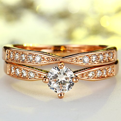 Amazon.com: JEWH Rose Gold Wedding Rings - Jewelry Cubic Zirconia Ring for Women - Rings Set - Female Engagement Party Statement Jewelry Gift (Silver) (8): ...