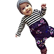 Moonker New Fashion Toddler Newborn Baby Boys Girls Stripe Floral Print Romper Jumpsuit Outfits For 3-12 Months (Purple, 3-6months)