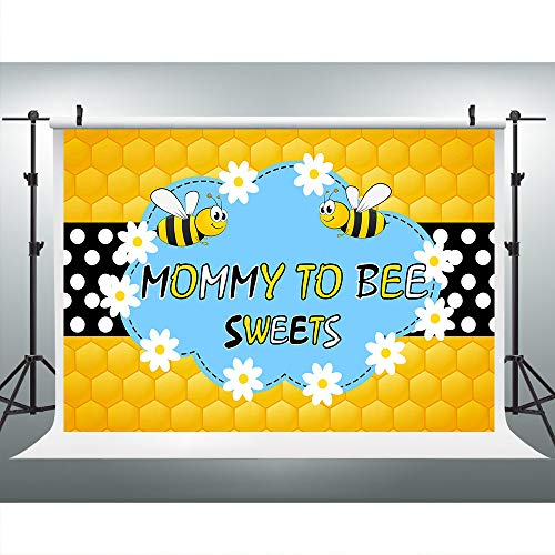 Mommy to Be Bee Honeycomb Photography Backdrop for Baby Shower Party, 9x6FT, Bumblebee Sweets White Dots Background, Photo Booth Studio Props LHLU338 ()
