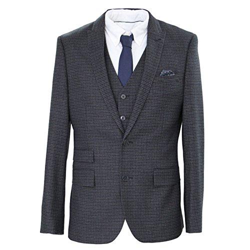 Men's Harry Brown London Collection 3 piece Navy Mini Check Slim Fit Suit 40L (40l Mens 3 Piece Suit)