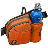 MODARANI Orange Hiking Waist Bags with Water Bottle Holder Hydration Packs Fanny Pack