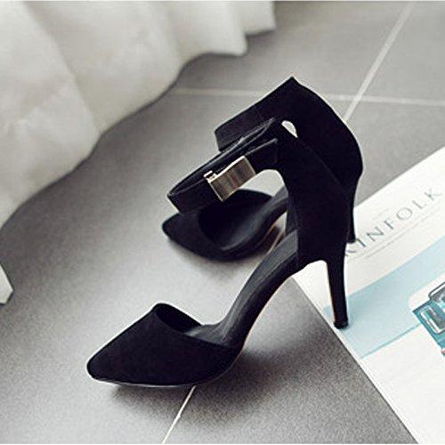 Souliers Danse Chaussures Boucle pointu Black Talon Mot Pied Khskx Des Au Bien Chinois Talons Creux Un À De 6annSvx