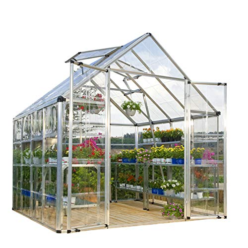 Palram HGK128 Snap & Grow Hobby Greenhouse w/Starter Kit, 8' x 8' x 9' ()