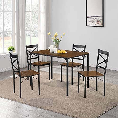 Harper Bright Designs 5 Pieces Dining Table Set, Elegant Desk and 4 Upholstered Chairs, Perfect for Kitchen, Breakfast Nook, Bar, Living Room