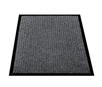 """California Home Goods 2 Pack - Ribbed Indoor Outdoor Rug for Entrance, Floor Mat with Shoe Scraper & Rubber Backing, Entryway Rug for High Traffic Areas, 17.5"""" x 29.5"""", Grey & Black"""