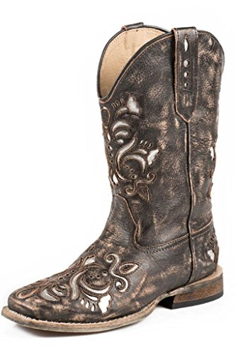 Boot Tan Childrens Distressed - Roper Belle Square Toe Cutout Cowboy Boot (Toddler/Little Kid), Distressed Brown, 1 M US Little Kid
