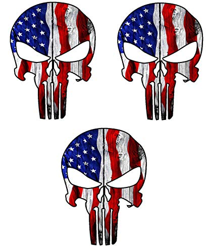 Three (3) Best Seller USA Punisher Skull | Hard Hat Stickers - USA Union