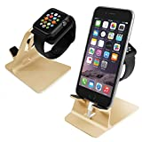 Orzly® DuoStand Charge Station for Apple Watch & iPhone - Aluminium Desk Stand Cradle IN GOLD with cable tidy slots for both Grommet Wireless Charger & Lightning Cable – Fits ALL iPhone Models & Apple Watch (both 42mm & 38mm sizes)
