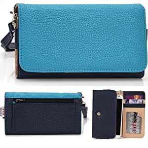 EXXIST® Classic Metro Series. Faux Leather Wallet / Clutch for Motorola ATRIX HD MB886 (Color: Baby Blue / Navy Blue) -ESMLMTBB