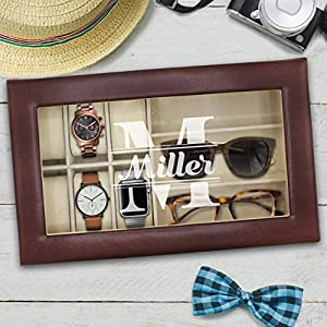 Personalized Watch and Sunglasses Box – Custom Engraved Watch and Eyeglass Organizer Case