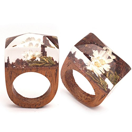 PSRINGS Handmade Ring Clear Resin Creative White Lotus Design Vintage Wood Ring 7.0