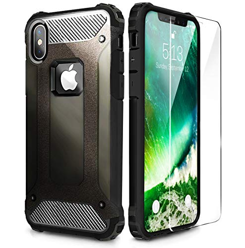 ZYN'S Armor Designed for iPhone X Case/Heavy Duty Hard [Military Defender ]Case for iPhone 10 (2018) with High Screen Protector (Black)