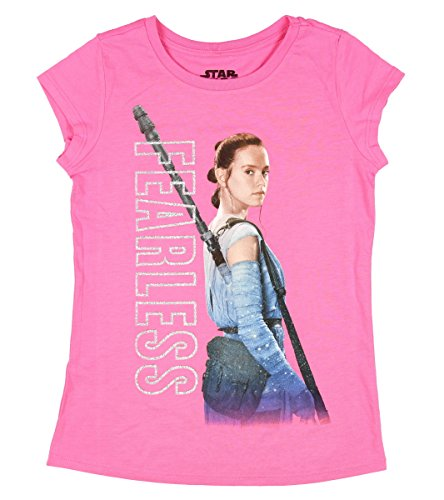 Disney Star Wars Rey Girls Shirt 4-16 (M (7/8), Bubblegum Pink)
