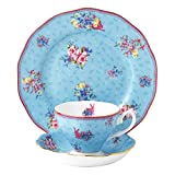 """Royal Albert Candy Honey Bunny 3-Piece Tea Set, 8"""", Mostly Blue with Gold Multicolored Print"""