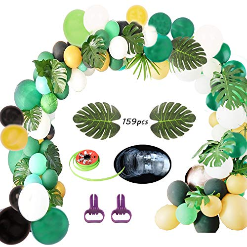 (Jungle Safari Theme Party Decorations 159pcs:130 latex balloons,24 Green Palm Leaves, 16 feets Arch Balloon strip tape, 2 Balloon tying tools Safri party Supplies and Favors for Kids Boys Birthday Bab)