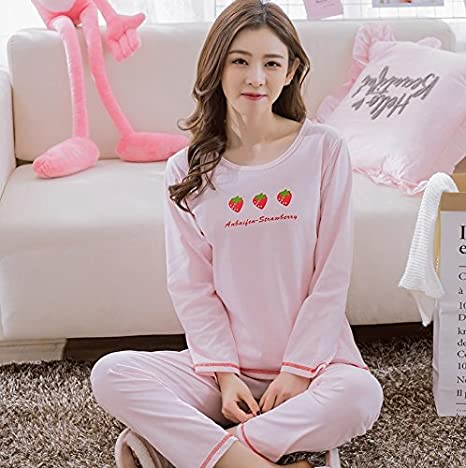 Blue Stones Women Pajamas Sets 100% Cotton Nightwear Spring Autumn Long Sleeve Pyjamas O-