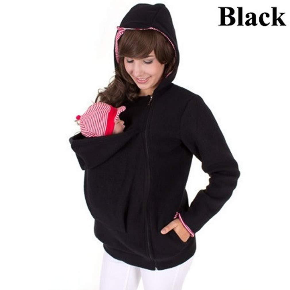 Zhongke Baby Carrier Hoodie Jacket Maternity Sweatshirt Kangaroo Pocket Coat Jacket para bebé Embarazada usando Baby Pullover Fleece Outerwear Sudadera con Capucha