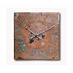 Large Copper Wall Clock 12-inch - Square Decorative Rustic Metal Original - Silent Non Ticking Quartz for Home