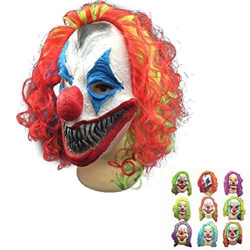 Amosfun Halloween Cosplay Mask Horrific Mask Creepy Terrifying Toothy Flame Clown Mask -
