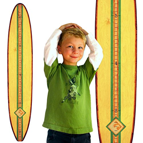 Surfboard Growth Charts - Growth Chart Art | Wood Surfboard Growth Chart for Boys & Girls | Baby Shower Gift | Classic Cream Longboard