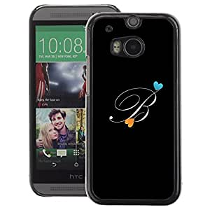 A-type Arte & diseño plástico duro Fundas Cover Cubre Hard Case Cover para HTC One M8 (Black Initials Letter Calligraphy Text)