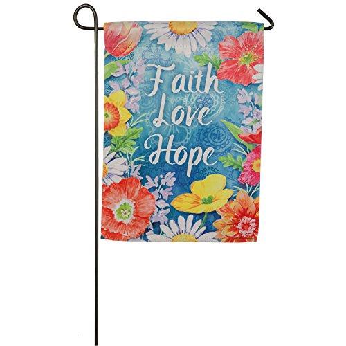 Love Faith By Treasure (Evergreen Faith Love Hope Suede Garden Flag, 12.5 x 18 inches)