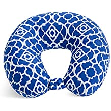 World's Best Feather Soft Microfiber Neck Pillow, Cobalt Blue Trellis, Neck-supportive Travel Pillow