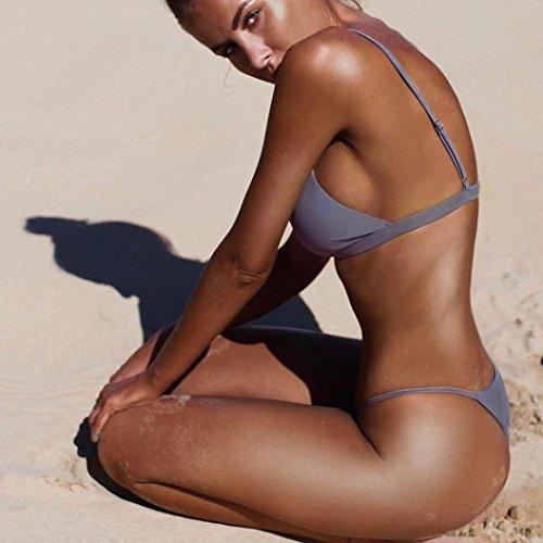 SMARTLADY Mujer Push-Up Acolchado Bikini Playa ,Tops y tangas Gris