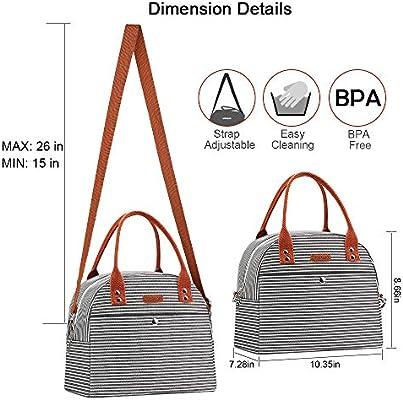 Mokaloo Bolsa de almuerzo para mujer, multifuncional, con correa para el hombro, reutilizable, térmica, con diseño de rayas