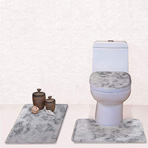 - Print 3 Pcss Bathroom Rug Set Contour Mat Toilet Seat Cover,Granite Surface Pattern with Stormy Details Natural Mineral Formation Print Decorative with Light Grey Dust,decorate bathroom,entrance do