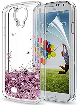 LeYi Compatible with Funda Samsung Galaxy S4 Silicona Purpurina Carcasa con HD Protectores de Pantalla,Transparente Cristal Bumper Telefono Gel TPU Fundas Case Cover para Movil Galaxy S4 ZX Oro Rosa: Amazon.es: Electrónica