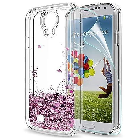 LeYi Hülle Samsung Galaxy S4 Glitzer Handyhülle mit HD Folie Schutzfolie,Cover TPU Bumper Silikon Flüssigkeit Treibsand Clear